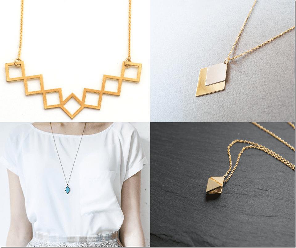 Geometric Rhombus Necklaces Jewelry Inspiration