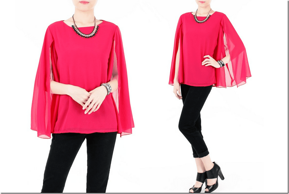 rose-pink-long-sleeve-cape-blouse