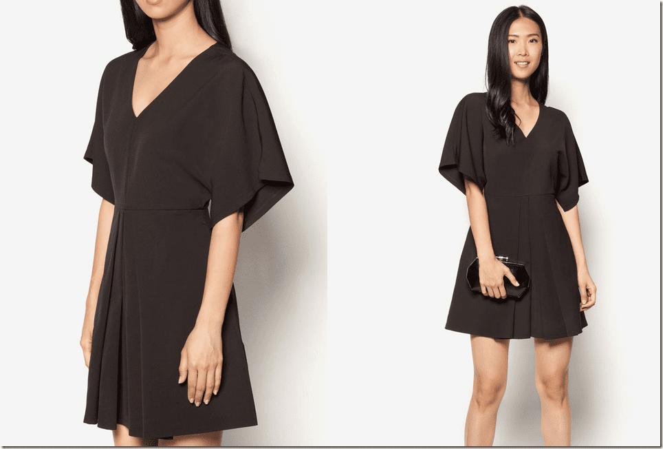 black-pleated-front-kimono-sleeve-dress