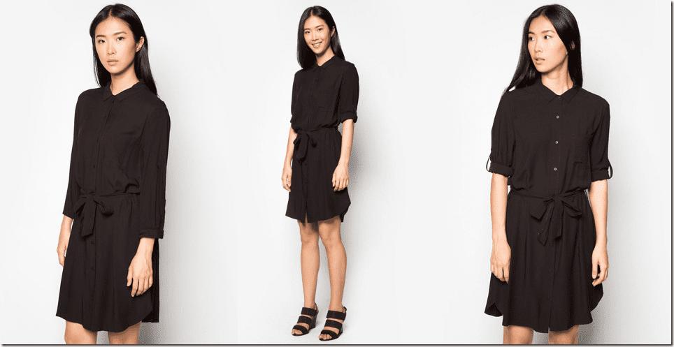 black-ribbon-tie-shirt-dress