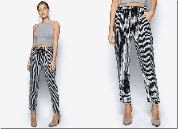 Description. Exude casual elegance in these black and white stripe harem pants that are lounging essentials for every fashionista out there. Let your inner goddess come out by dressing these up with some black stilettos and a casual black top.