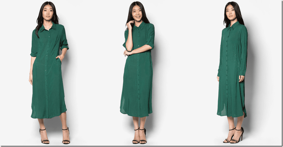 emerald-green-embellished-midi-shirt-dress