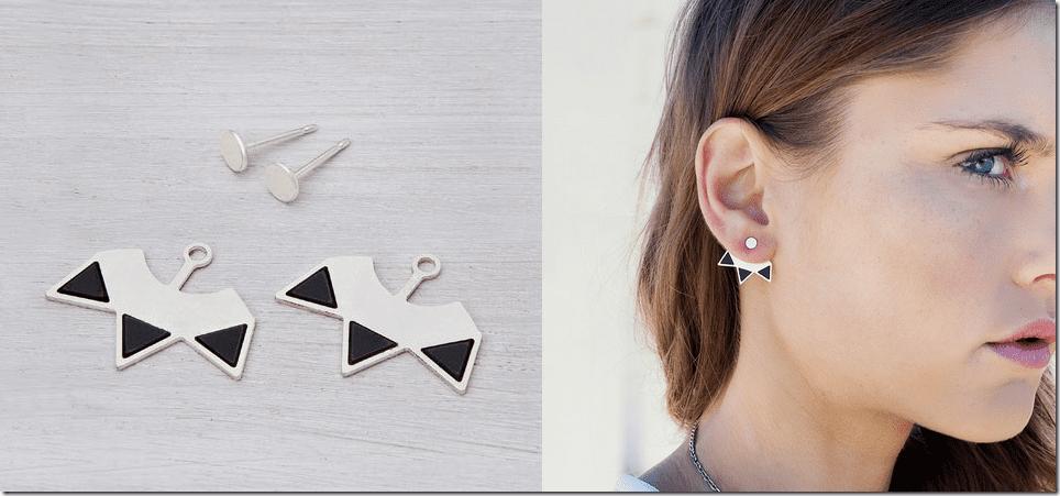 Geometric Spiky Ear Jacket Earrings