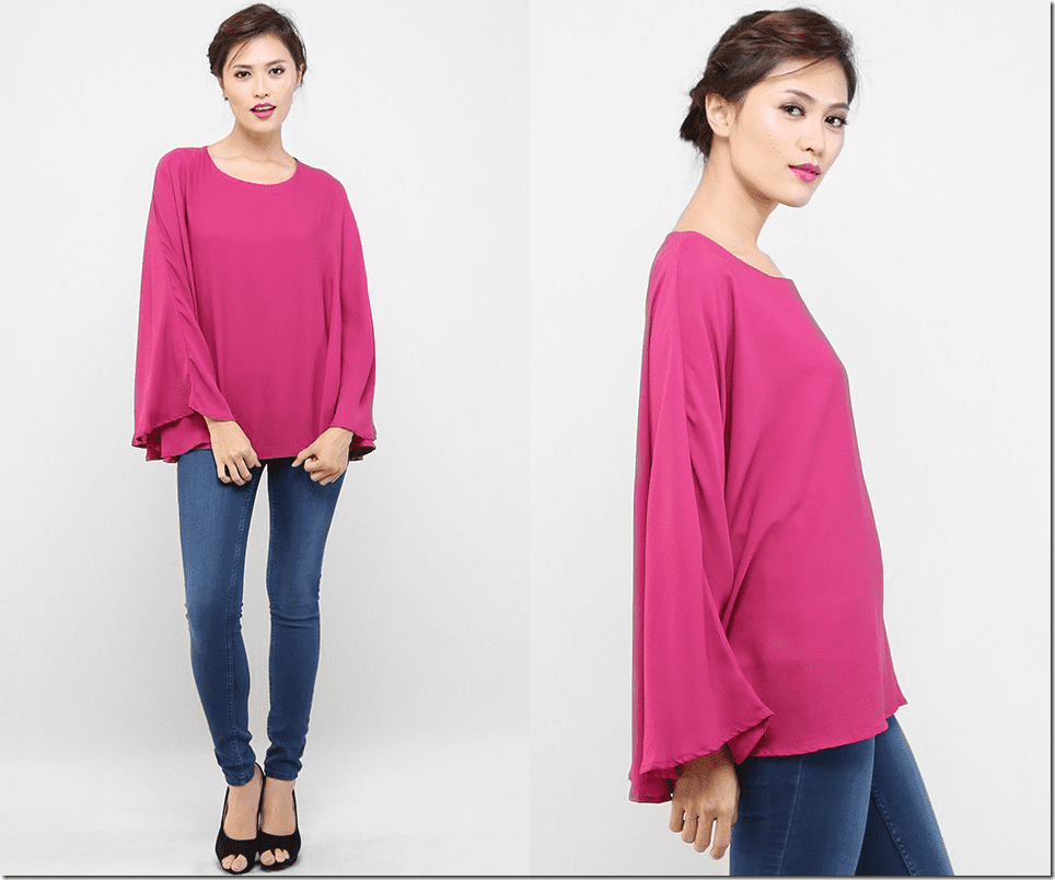 magenta-flowy-kaftan-blouse