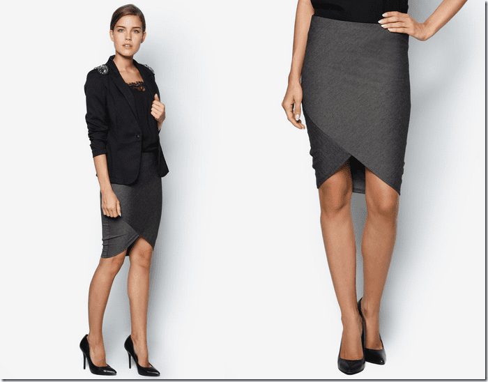 melange-grey-wrap-style-pencil-skirt