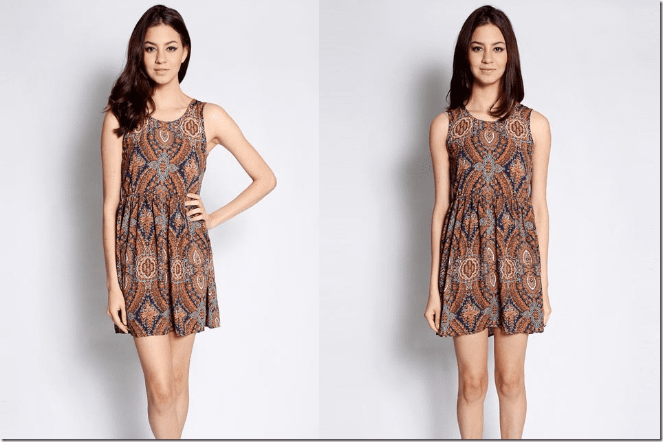patterned-brown-ruched-mini-dress