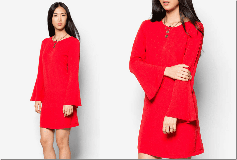 red-embossed-floral-bell-sleeve-dress