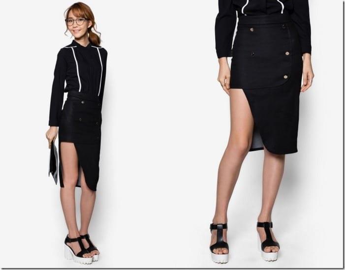 asymmetric-button-front-skirt