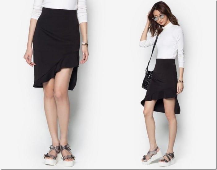 asymmetric-frill-neoprene-skirt