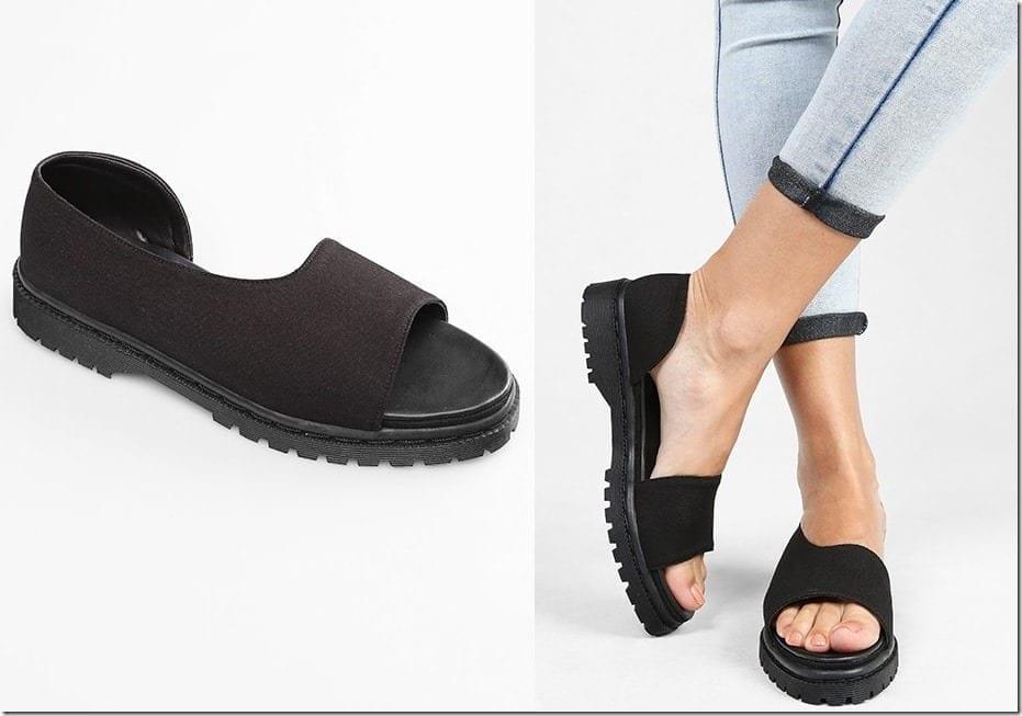 black-open-toe-flats