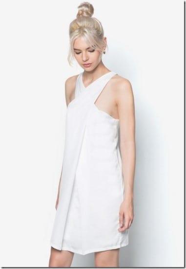 white-cross-neck-dress