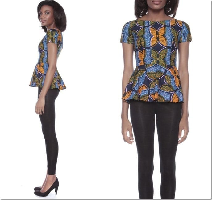 african-print-peplum-top
