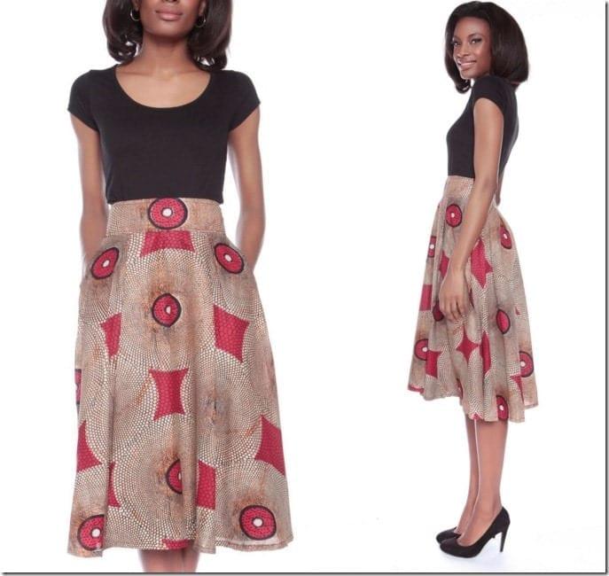 ankara-print-midi-skirt