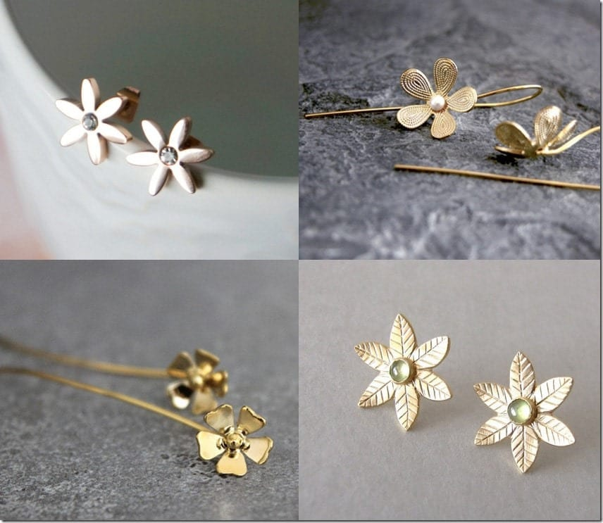 7 Gold Floral Themed Earring Styles Jewelry Inspiration