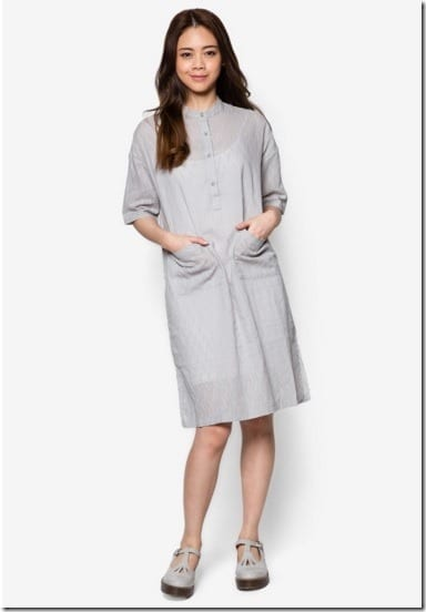 grey-mandarin-collar-dress