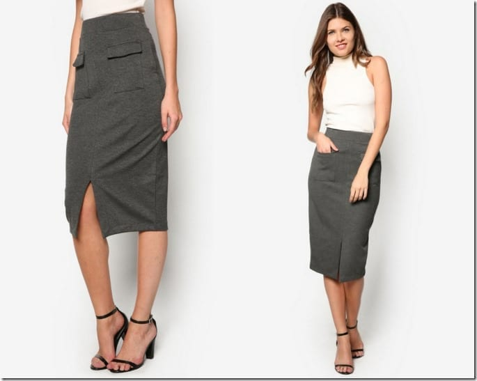 grey-patch-pocket-pencil-skirt