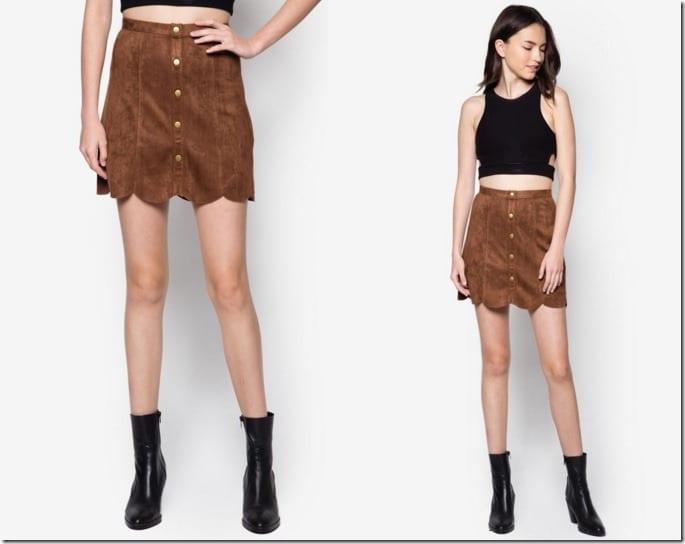 brown-button-scallop-skirt