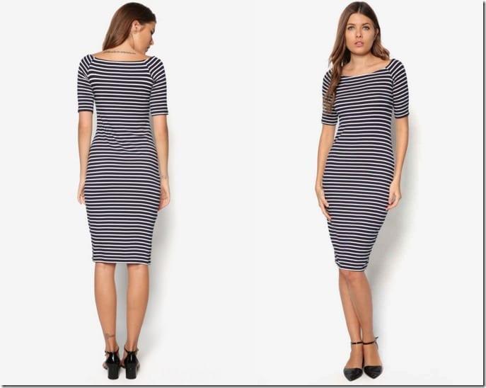 stripe-midi-bodycon-dress