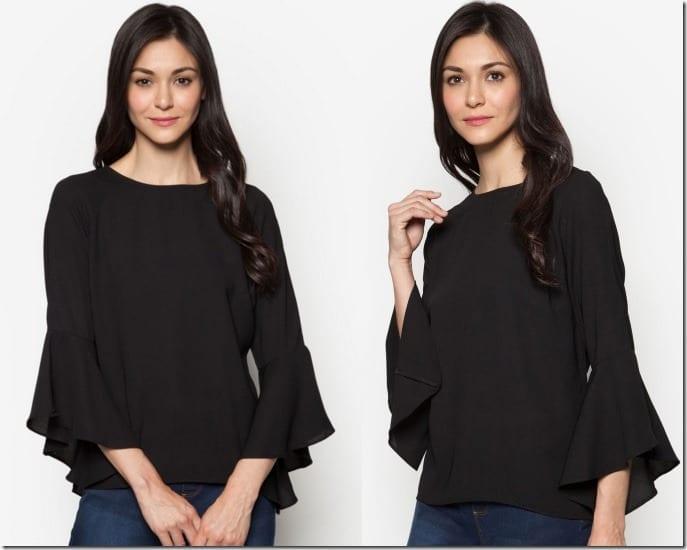 black-bell-sleeve-blouse