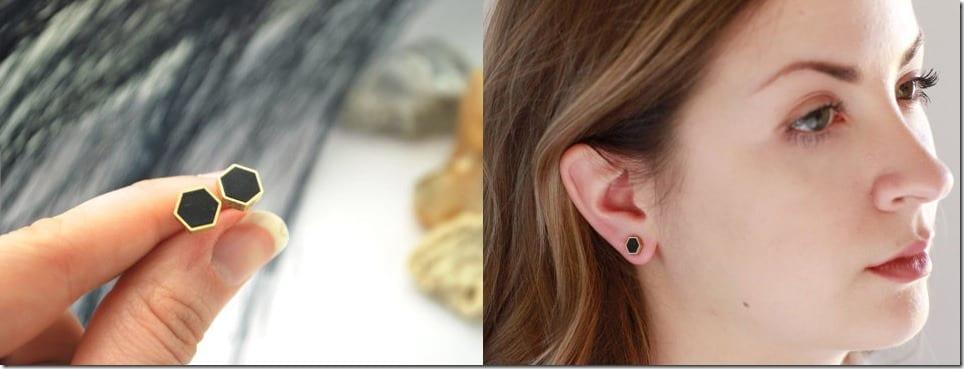 black-brass-hexagon-stud-earrings