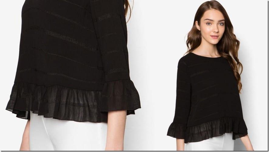 black-gathered-hem-top