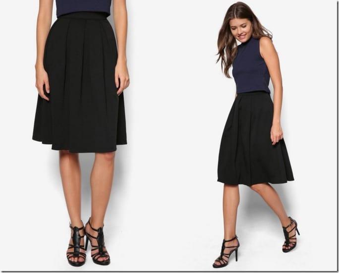 black-pleated-skater-midi-skirt