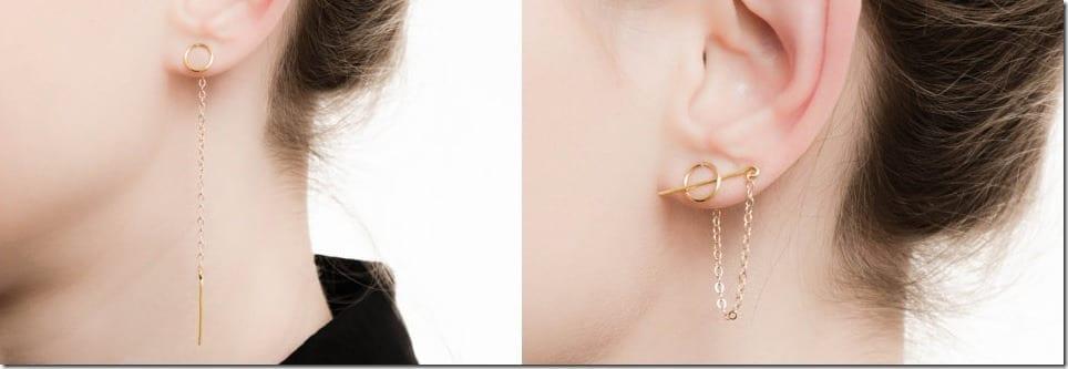 Circle Stud Bar Threader Earrings