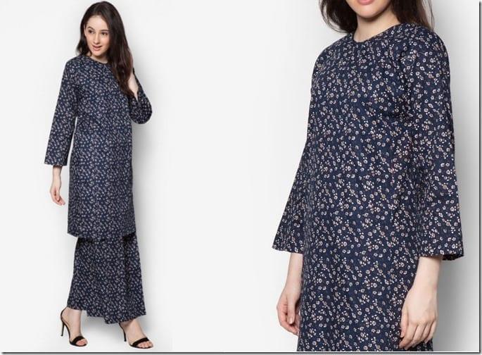 dark-blue-floral-baju-kurung