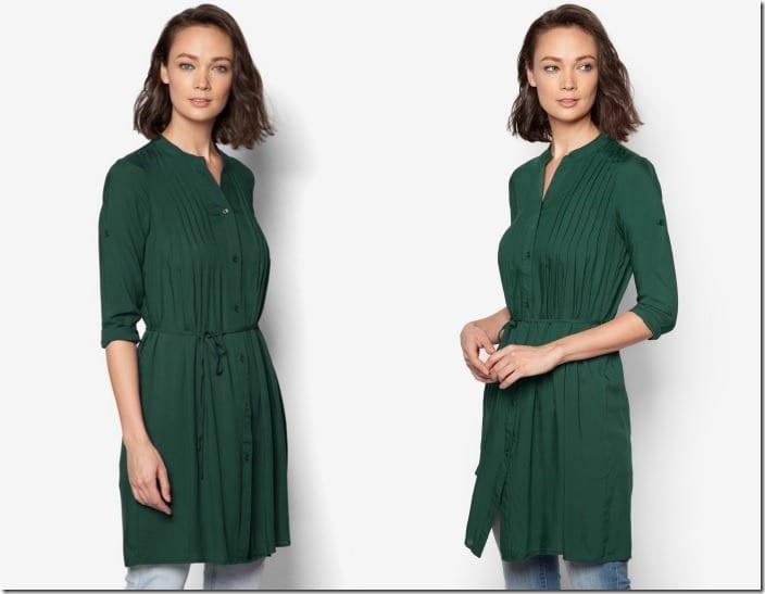 green-pleated-tunic-top