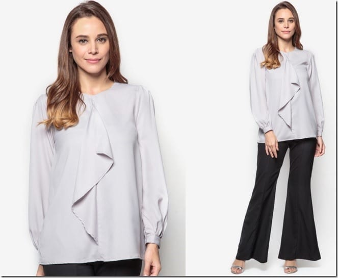 grey-front-flare-blouse