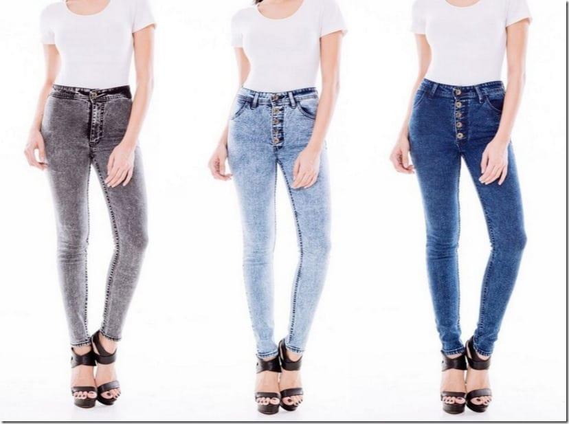 Acid Wash High Waisted Skinny Jeans