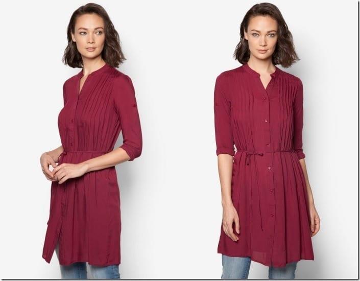maroon-pleated-tunic-top