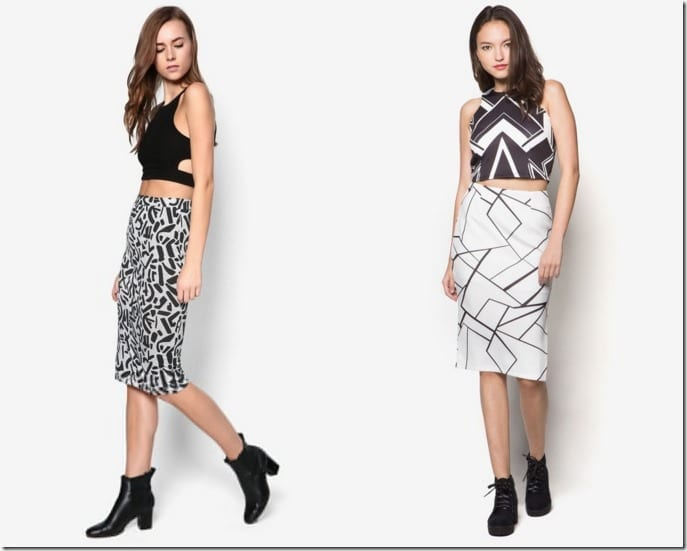 5 Highly Wearable Monochromatic Black And White Pencil Skirt Ideas