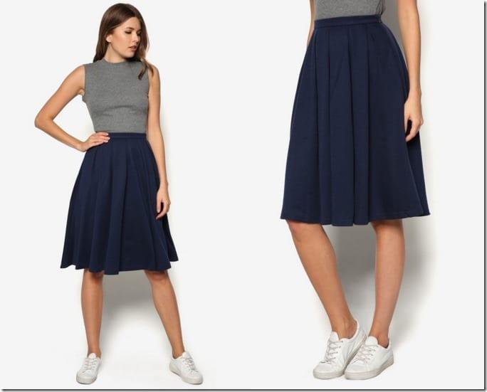navy-flare-midi-skirt