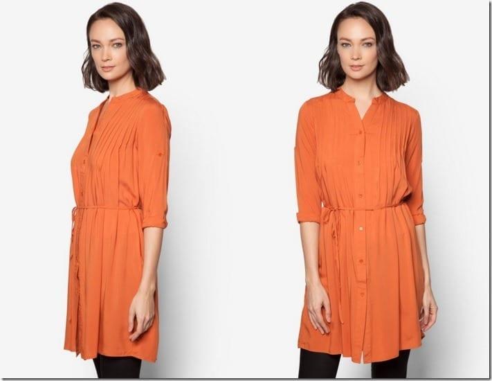 orange-pleated-tunic-top