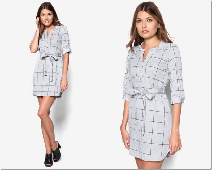 petite-grey-check-shirt-dress
