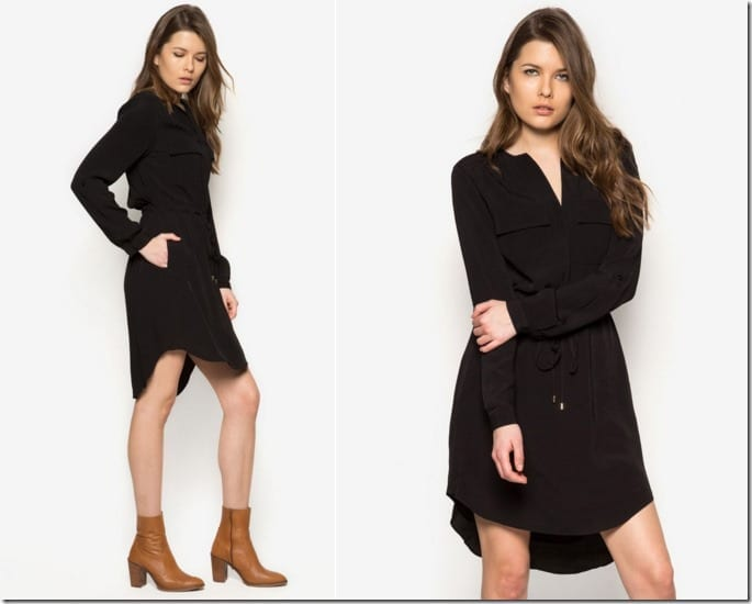roll-sleeve-black-shirt-dress