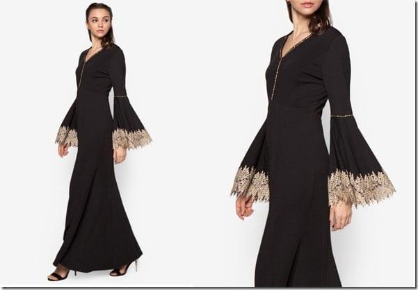 bell-sleeve-black-mermaid-dress