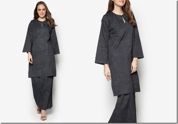black-white-simple-print-baju-kurung