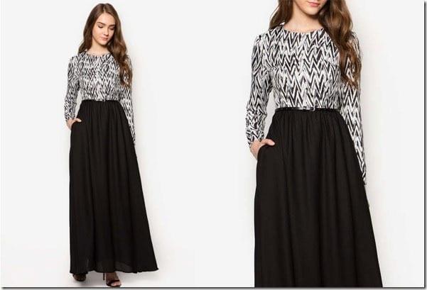 black-zigzag-fit-flare-maxi-dress