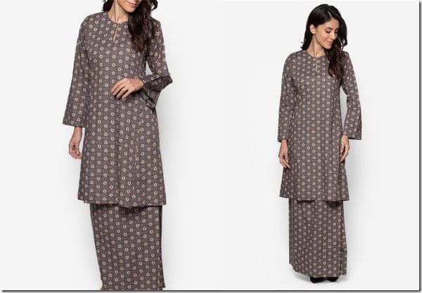 dark-grey-floral-baju-kurung