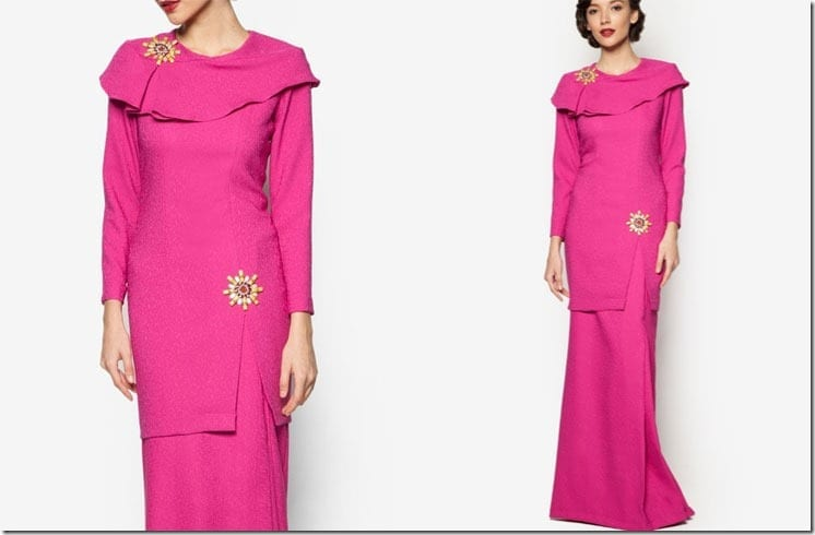 fuchsia-pink-crepe-kurung