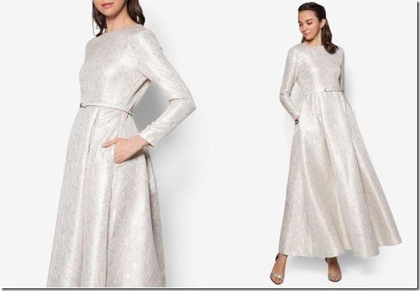 light-gold-jacquard-fit-flare-dress