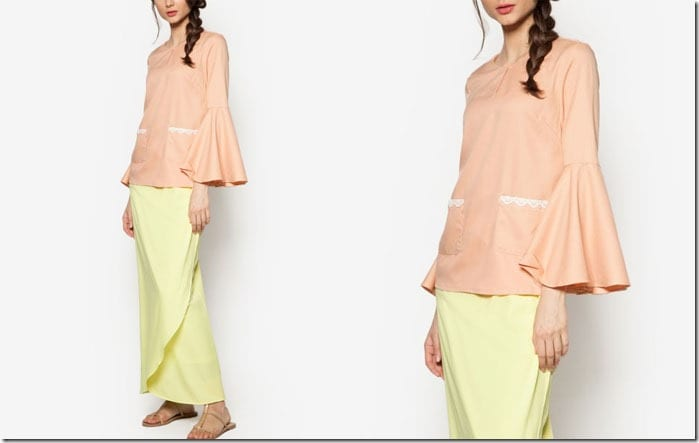 nude-yellow-flare-sleeve-kurung
