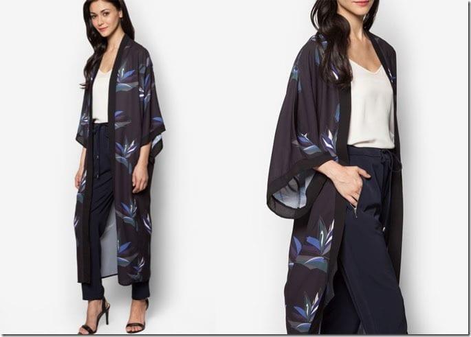 black-blue-floral-print-long-cardigan