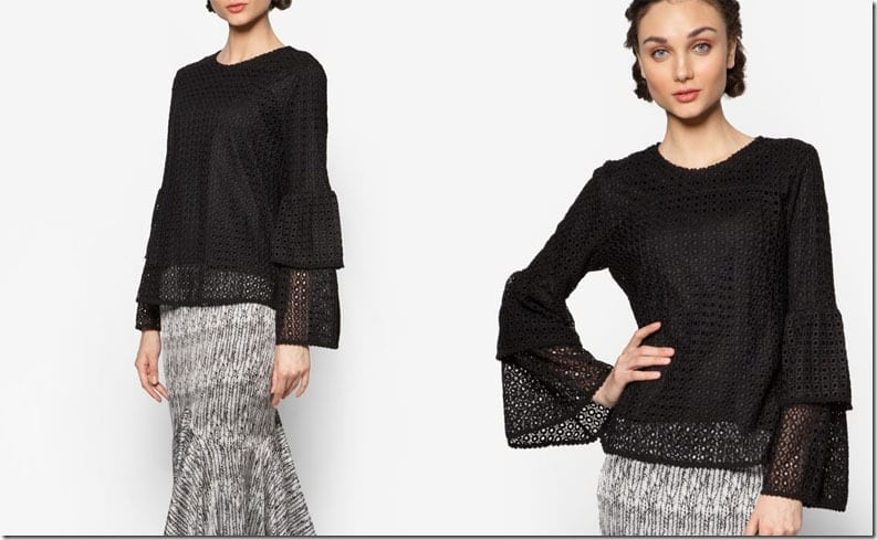 black-double-layer-eyelet-sleeve-top