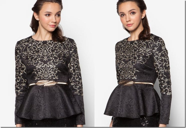 black-gold-jacquard-peplum-top