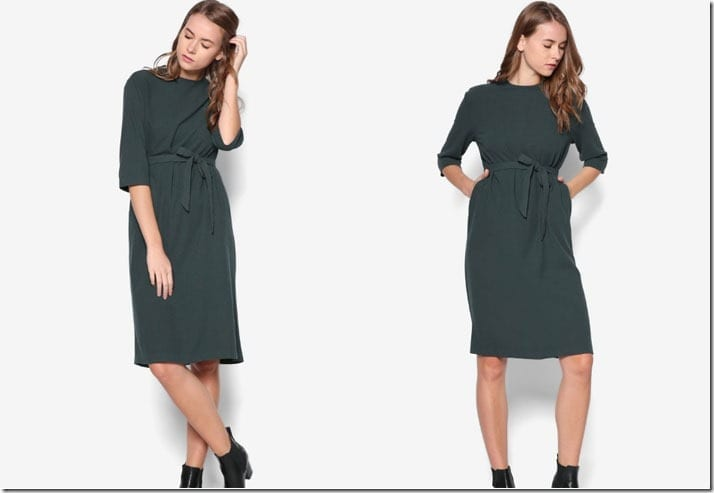 green-midi-shift-sash-dress