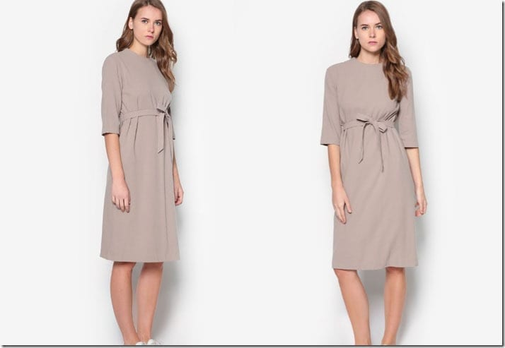 khaki-midi-shift-sash-dress