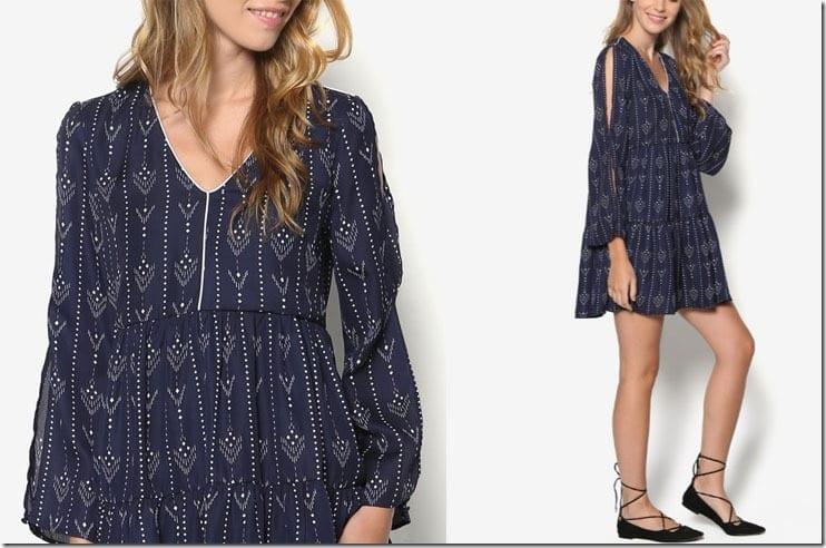 long-sleeve-patterned-swing-dress